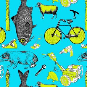 childhood_farm_life_pattern_blue_green