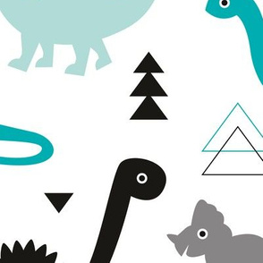 Adorable dino boys fabric with black and blue dinosaur geometric triangles and funky animal illustration theme for kids LARGE Jumbo