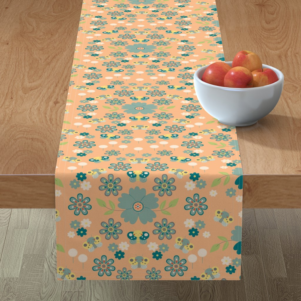 Minorca Table Runner featuring flowers and butterflies by gnoppoletta
