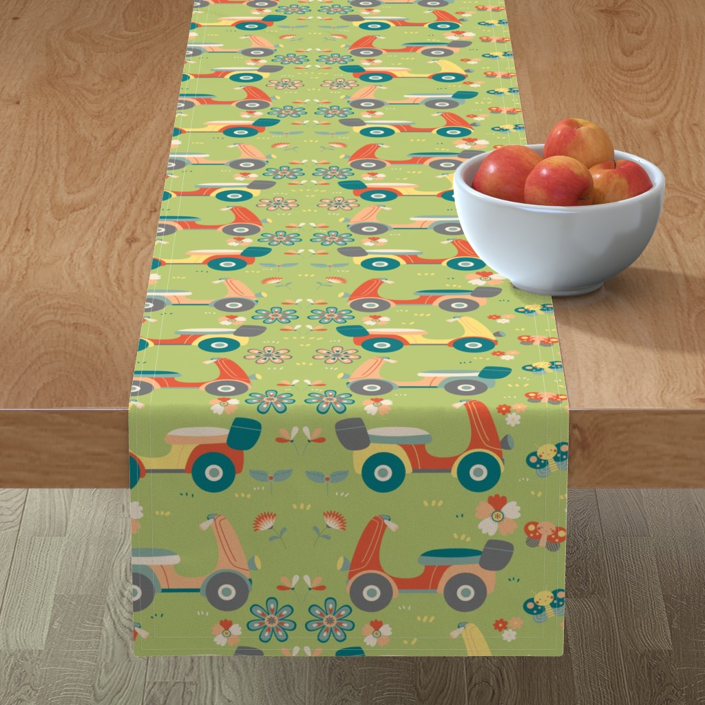 Minorca Table Runner featuring vespa scooter by gnoppoletta