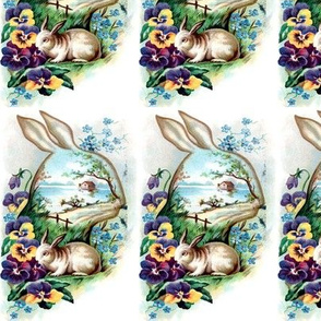 rabbits hares animals flowers heads outlines silhouettes pansy pansies cottages lakes rivers houses leaves leaf grass vintage easter