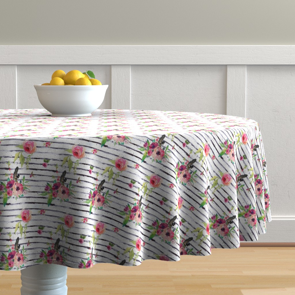 Malay Round Tablecloth featuring Lose Yourself Floral Stripes by shopcabin
