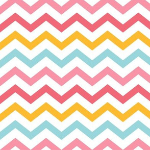little one girl :: chevron pink blue orange