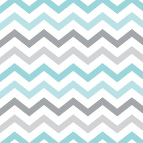 little one baby boy :: chevron blue and grey
