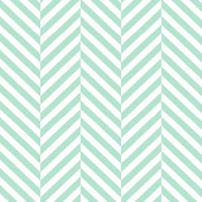 herringbone LG mint green
