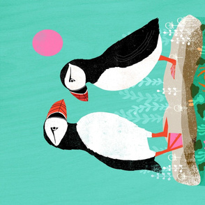 tea towels // tea towel puffins puffin bird birds cut and sew kitchen design kitchen fabric andrea lauren