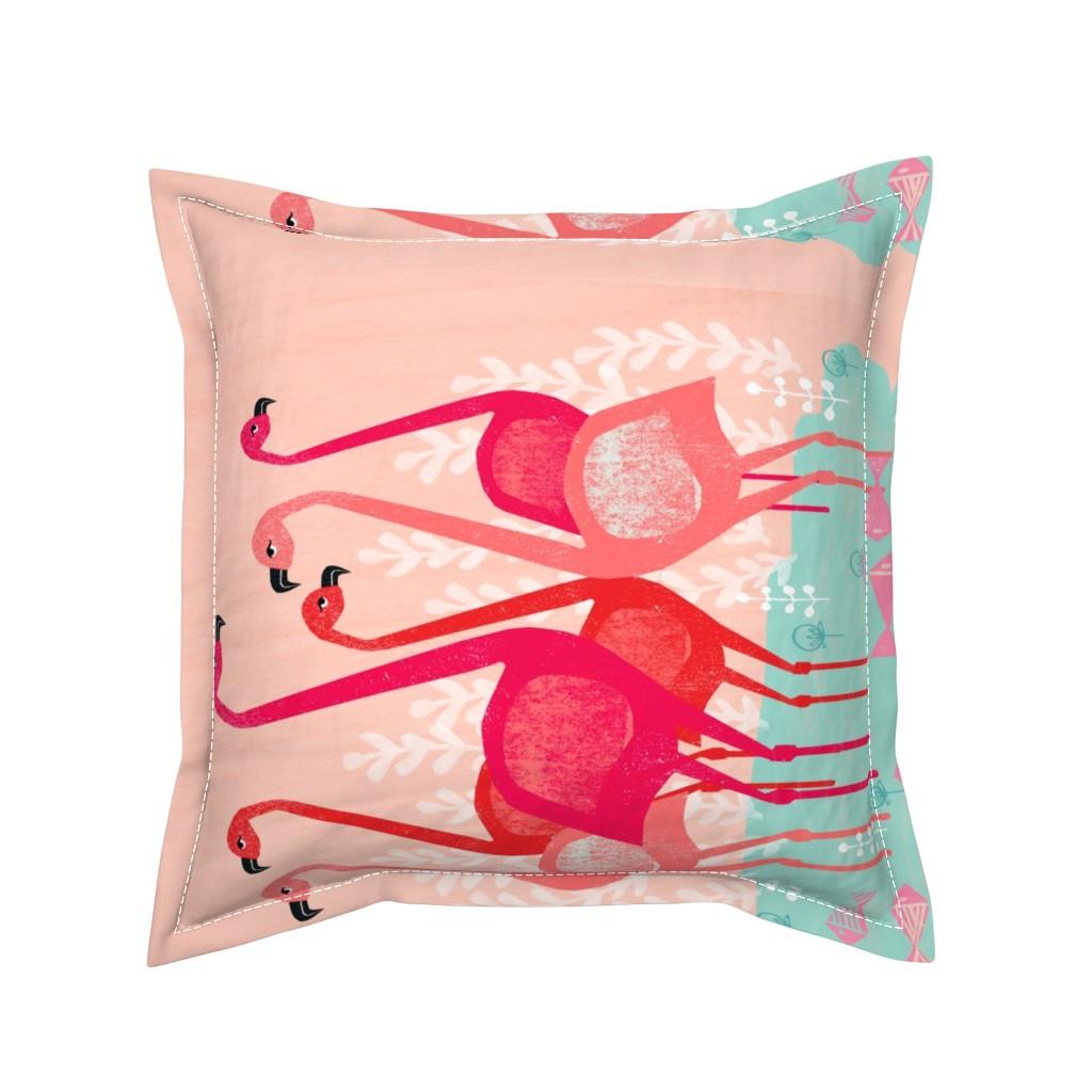 Serama Throw Pillow featuring tea towels // flamingo birds pink cut and sew kitchen retro camper kitschy kitsch tea towel by andrea_lauren
