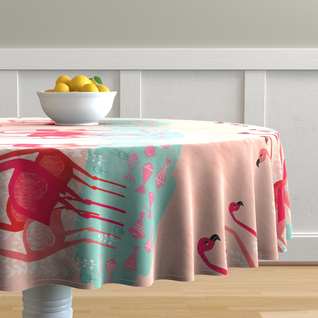 Malay Round Tablecloth featuring tea towels // flamingo birds pink cut and sew kitchen retro camper kitschy kitsch tea towel by andrea_lauren