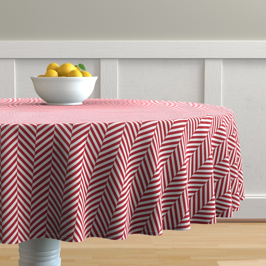 Malay Round Tablecloth featuring herringbone LG red by misstiina