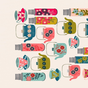 thermos tea towel // vintage style teacups teapots tea thermos florals tea towel cut and sew kitchen fabric by andrea lauren