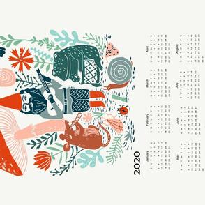 2020 gnome calendar // gnome calendar illustration gnome illustration calendar mushrooms woodland forest calendar linocut andrea lauren