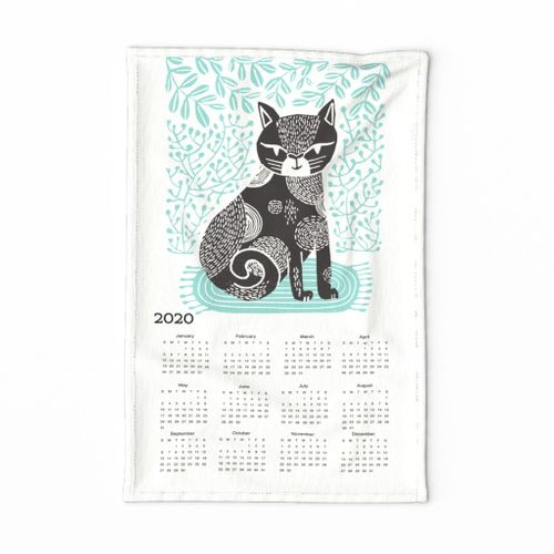 2020 cat linocut calendar // calendar cut and sew calendar linocut cat cat design andrea lauren fabric andrea lauren tea towel