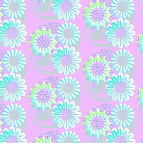 Aqua Blooms Lino Mauve
