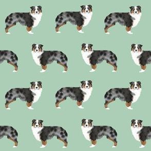 australian shepherds dog mint aussie dog cute dog fabric sweet dogs dog breed fabric australian shepherds