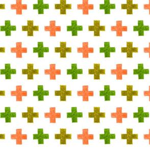 crayon crosses (green-salmon)