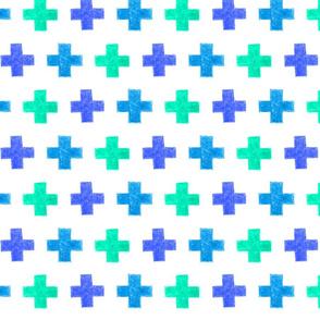 crayon crosses (blue-aqua)