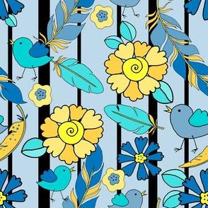 _TK-005_ART-Feathers_Baby_Bird_Flowers_Stripe-yellow_blue_300