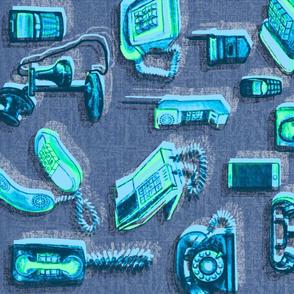 Phones Phones Phones TeaTowel greens