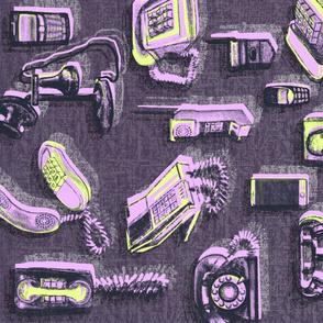 Phones phones phones Tea Towel Pink