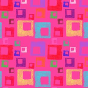 Distressed Squares Pink