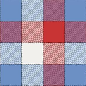 "paneled tartan - 6"" - fifties cherry, blue and pearl"