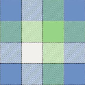 "paneled tartan - 6"" - fifties blue, green and pearl"