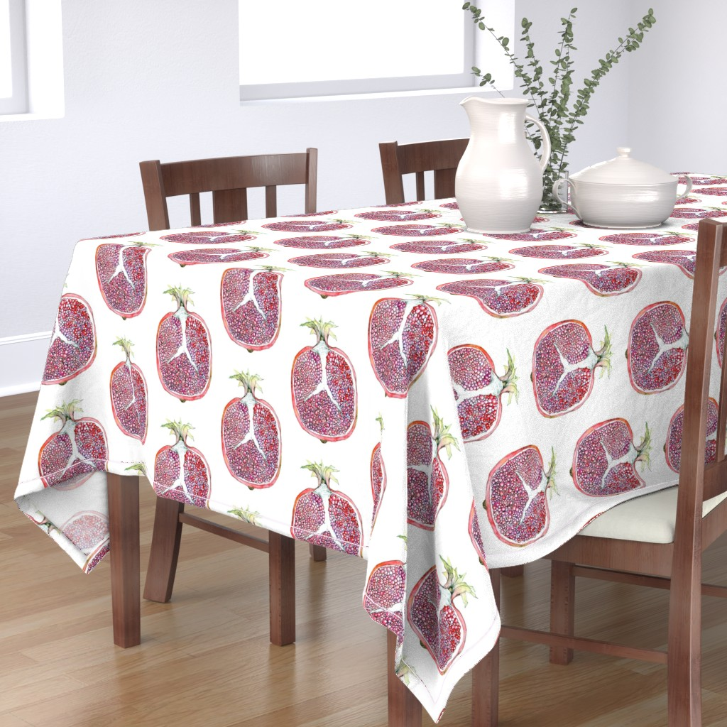 Bantam Rectangular Tablecloth featuring Pomegranate by tefie