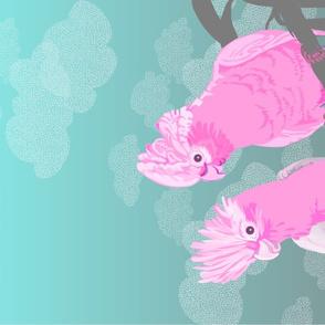 Two Galahs Tea Towel Turquoise