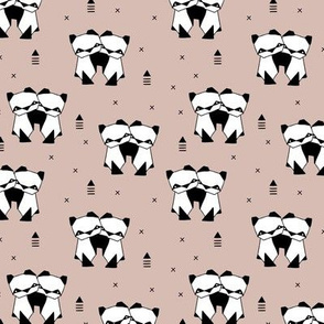 Origami animals cute panda geometric triangle and scandinavian style print black and white gender neutral beige SMALL