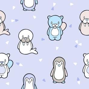 Happy Cute Penguin Beaver and Walrus