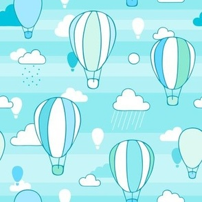 Hot Air Balloons in a cloudy sky