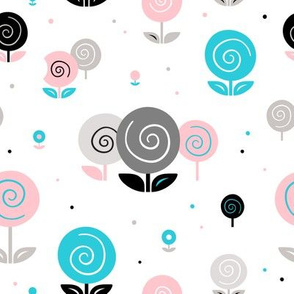 Flowers, dots  and whirls