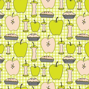16-13P Yellow Green Apple Pie Gingham || Back to School Fruit Food Teacher Check American Lime Gray grey _Miss Chiff Designs