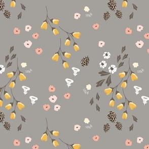 rambling dancing pine florals pink yellow flowers daisy nursery groundcover night design