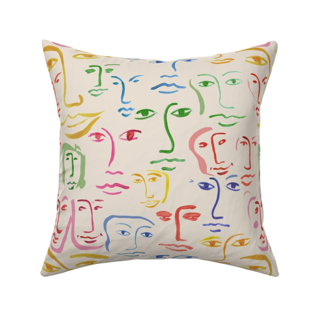 Catalan Throw Pillow featuring worldly faces by cinneworthington