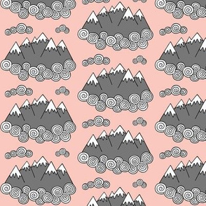 Mountains // Pink background