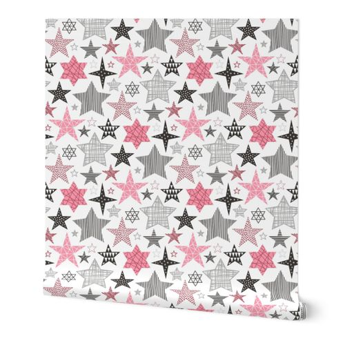 5678082 stars geometric winter fall holiday christmas black  white pink by caja design