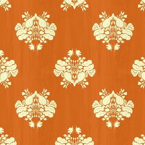 Orange textured creamy floral
