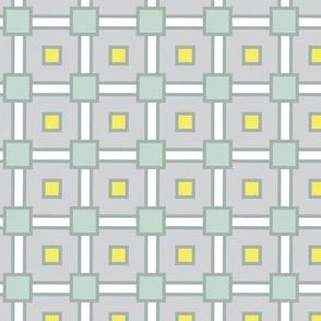 16-15T Modern Geometric Squares|| Gray Grey Lemon Yellow Celadon Green Seafoam Blue  _Miss Chiff Designs