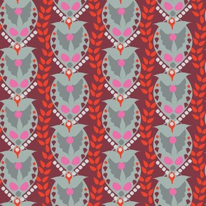 16-15S Valentine Paisley Damask || Heart Wings Love  Gray grey Red Maroon Pink _ Miss Chiff Designs