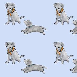 Lab_Puppies_Blue_Mono_Print