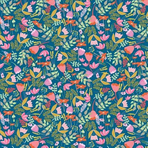 Wild meadow floral in blue - small
