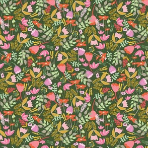 Wild meadow floral in green - small