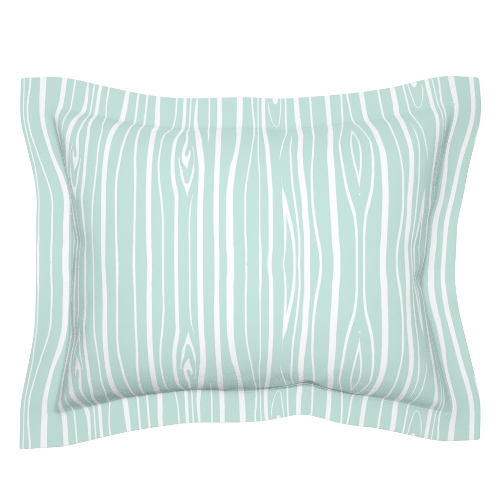 Sebright Pillow Sham featuring Woodgrain - Mint by sugarpinedesign