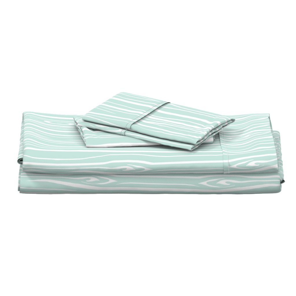 Langshan Full Bed Set featuring Woodgrain - Mint by sugarpinedesign