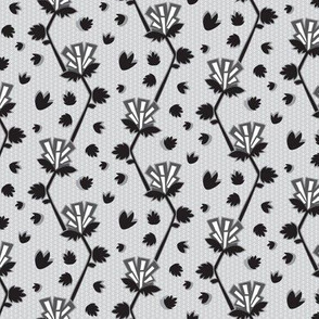 Art Deco Geometric Floral || Monochrome Black White Abstract Silver Flower  Gray Grey _Miss Chiff Designs