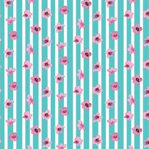16-08e Pink Cherry Blossom || Spring Japanese Japan Flower Watercolor on Light Blue Turquoise Stripe Tree Leaf _Miss Chiff Designs