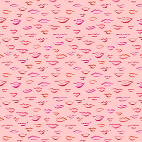kissy lips on pink