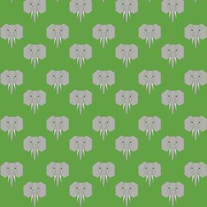 Geometric Elephant on Green
