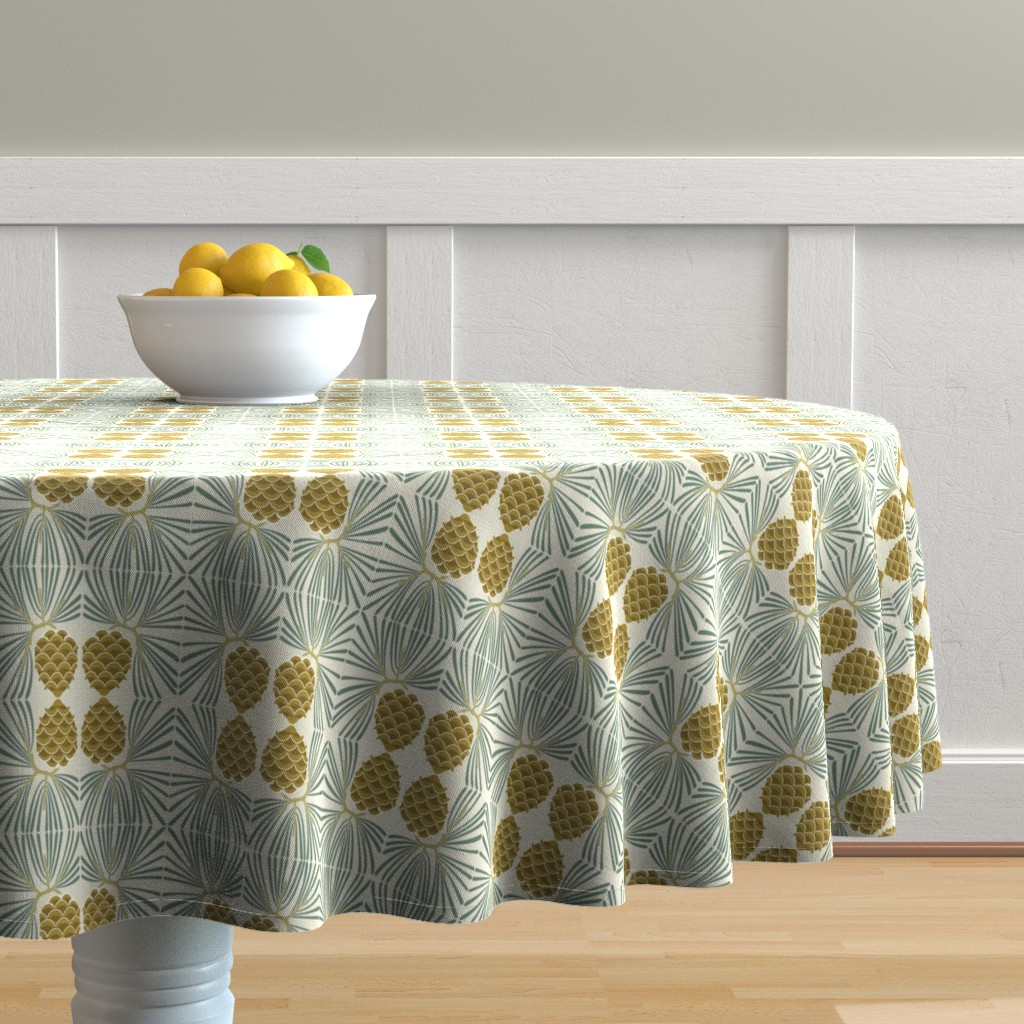 Malay Round Tablecloth featuring holiday pine lrg by cindylindgren